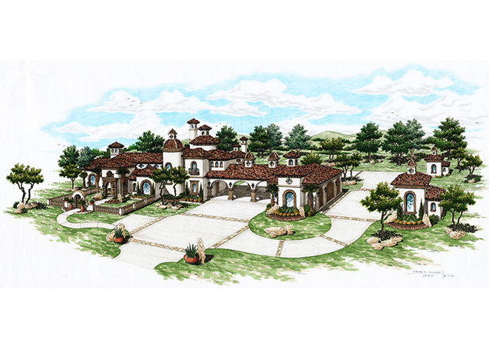 Refugio Ranch: A Spanish Style Hacienda front elevation