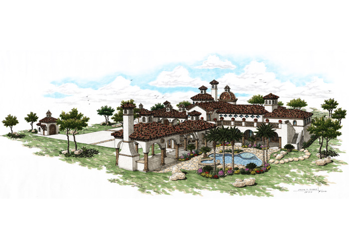 Refugio Ranch: A Spanish Style Hacienda back elevation