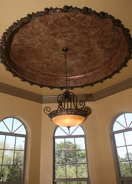Cordillera Ranch: There are custom finishes throughout the home, such as this beautiful ceiling treatment.