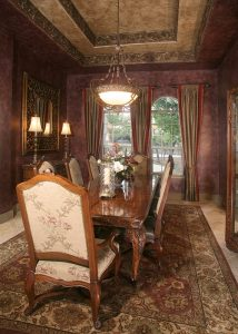 The details in the dining room of this custom home in Cordillera Ranch are truly magnificent.