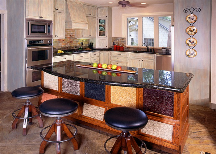 This unbelievable 20+ acre property has been high fenced and stocked with exotic game. Here's a peek into the kitchen.