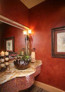 Anaqua Springs Ranch Interior: Powder Bath | Spanish Style Homes by Todd Glowka Builder, Inc.