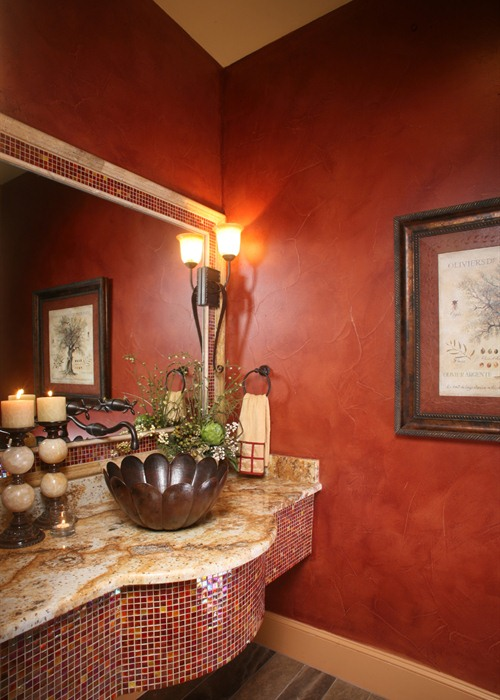 Anaqua Springs Ranch Interior: Powder Bath | Spanish Style Homes by Todd Glowka Builder, Inc.