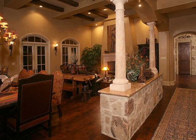 Anaqua Springs Ranch Interior: Formal Living Area | Spanish Style Homes by Todd Glowka Builder, Inc.