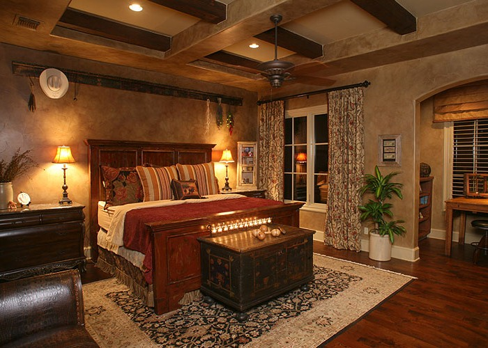 Anaqua Springs Ranch Interior: Master Bedroom | Spanish Style Homes by Todd Glowka Builder, Inc.