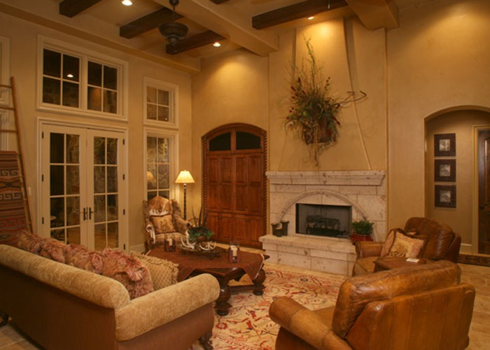 Anaqua Springs Ranch Interior: Formal Living Room | Spanish Style Homes by Todd Glowka Builder, Inc.