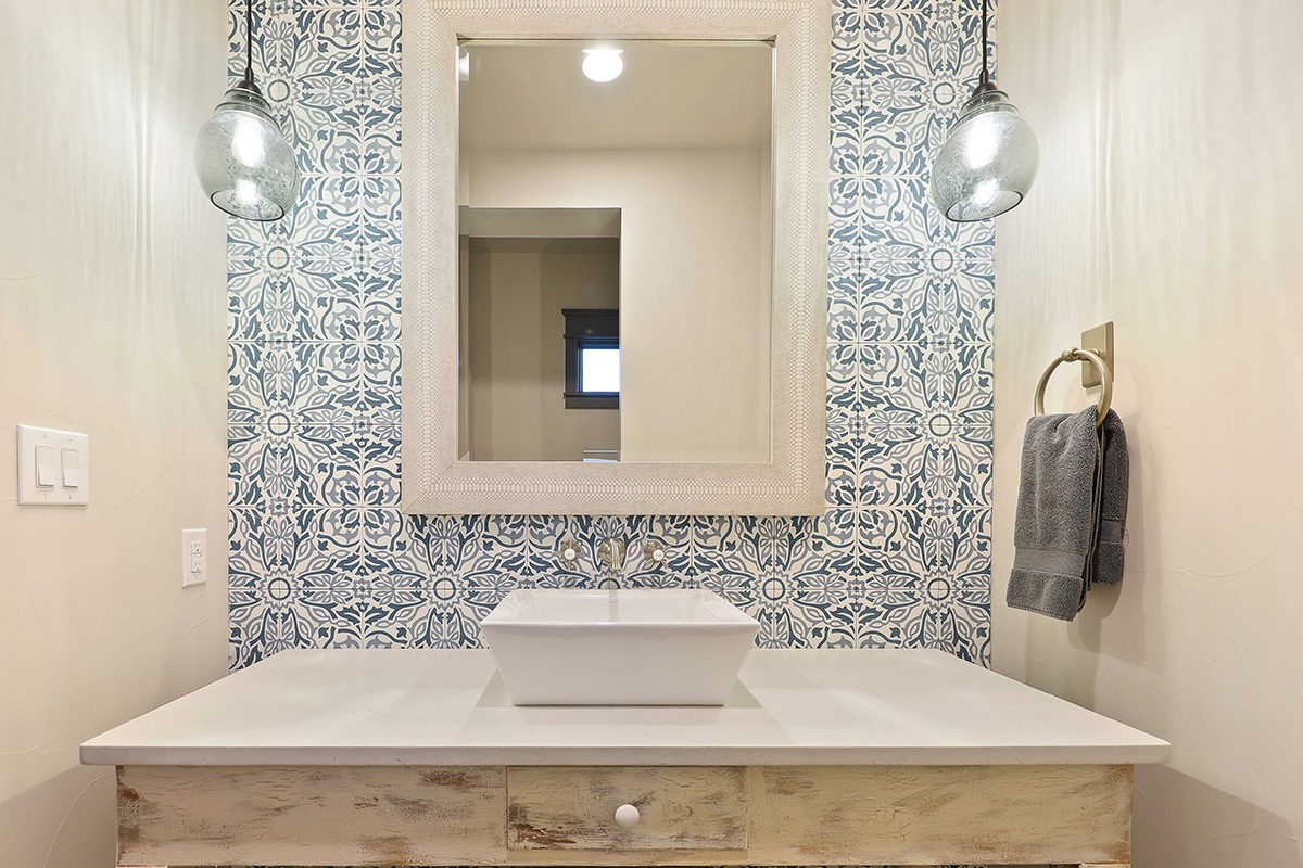 hill country custom home by Todd Glowka Builder, Inc - guest bathrrom vanity