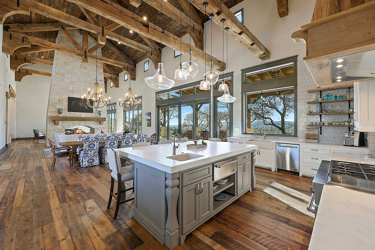 hill country custom home by Todd Glowka Builder, Inc - kitchen / living