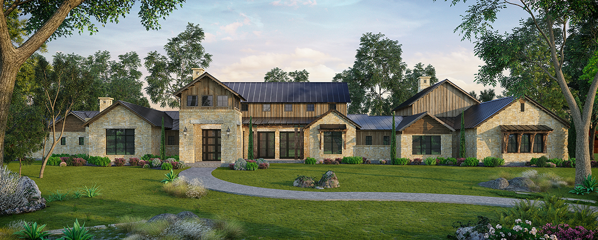 This spectacular creation by Hill Country custom home builder Todd Glowka Builder, Inc. sits alongside the Guadalupe River on 300 private acres