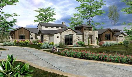Texas Hill Country architecture infused with touches of modern industrialism on 13+ acre estate lot in Cordillera Ranch