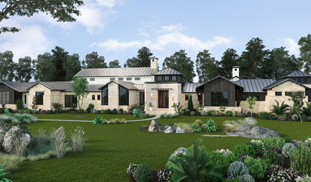This 14,000sf private estate by Hill Country custom home builder Todd Glowka Builder features a Texas Hill Country architectural style with soft touches of contemporary through the tasteful blending of materials
