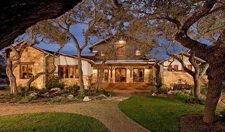 "Designed to be ""Eclectically Texas"", the Ranch Foreman's house showcases 200+ year old reclaimed timbers mixed with materials native to South Texas."