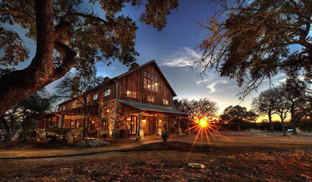 Originally constructed in NY circa 1870, The Party Barn at Branded T Ranch was meticulously restored by Hill Country Builders Todd Glowka.